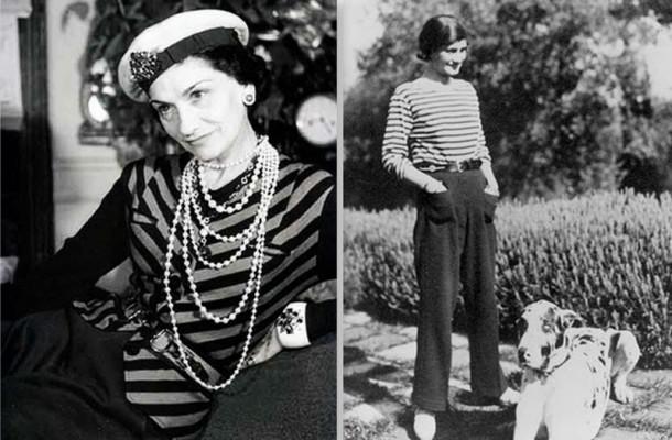 Coco Chanel usando listras