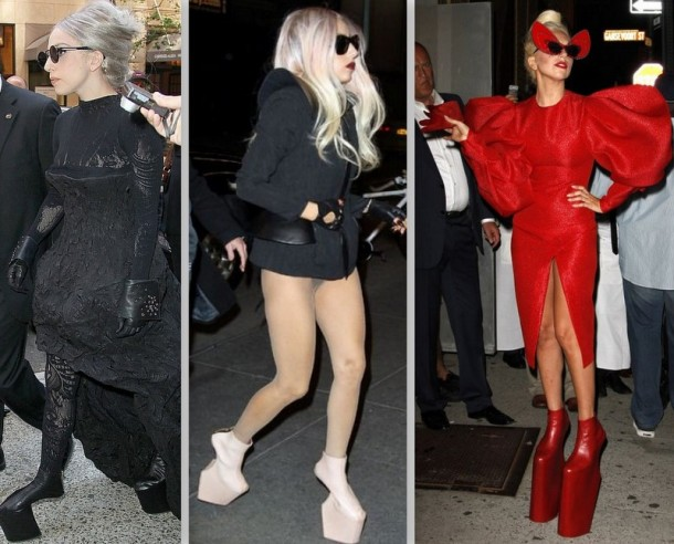 Lady GaGa com alguns dos seus saltos fantasmas